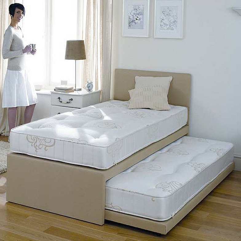 faux single beds leather with guest carra guestbeds bed serene station mattress white the b