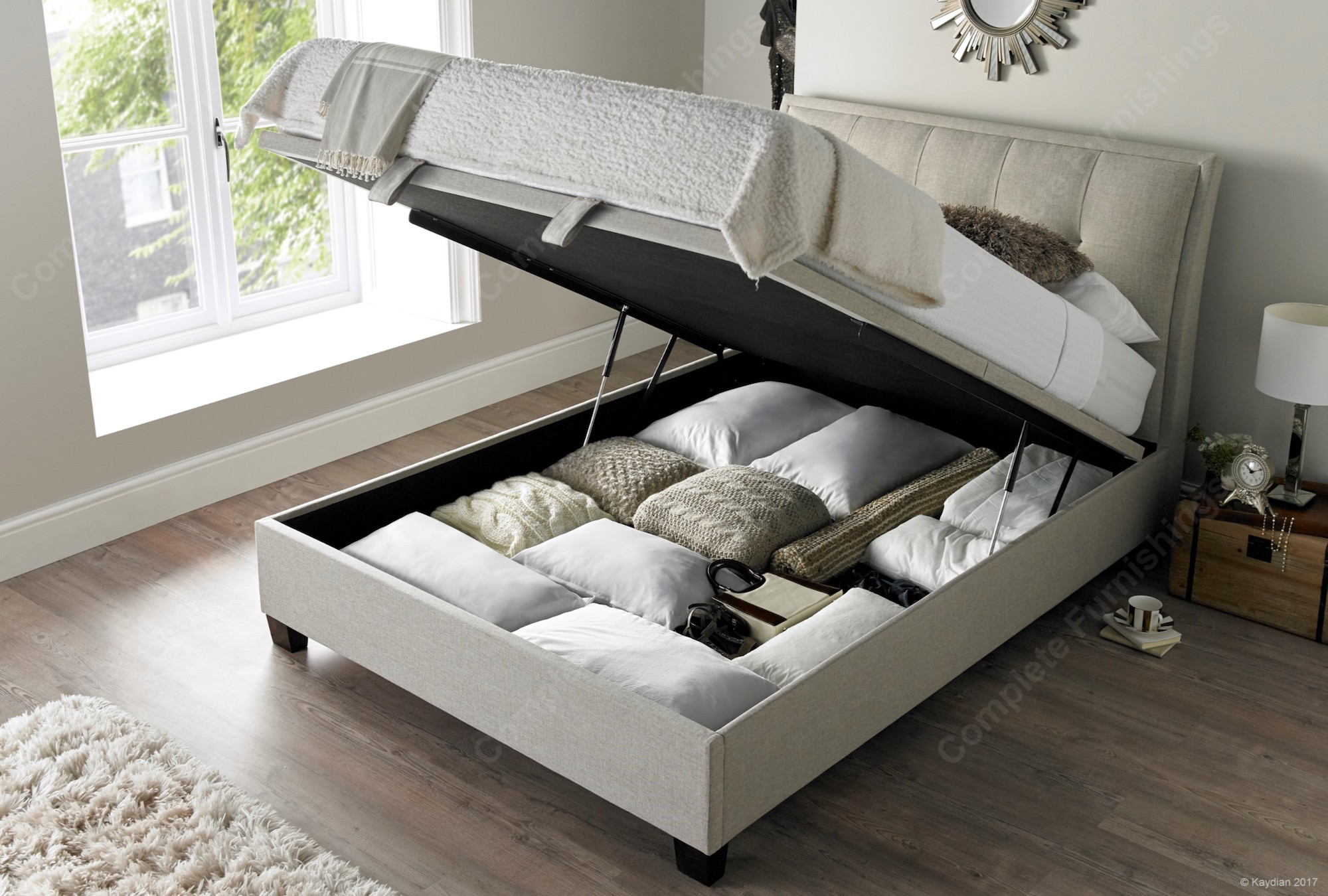 Kaydian Accent Ottoman bed Free delivery Best Price  : Accent Ottoman Bed Oatmeal Open from www.completefurnishings.co.uk size 2000 x 1350 jpeg 503kB