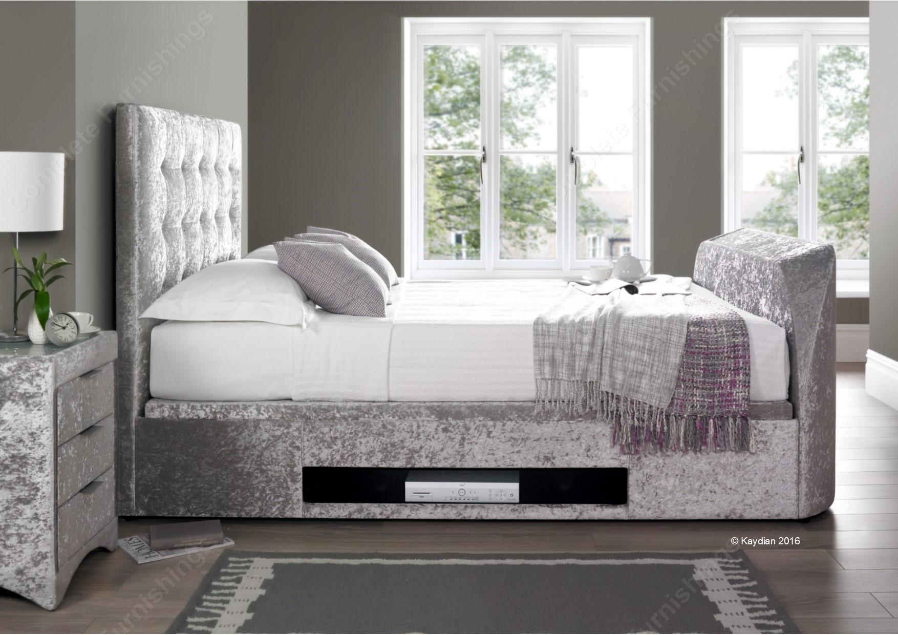 Barnard TV Ottoman Bed, silver velvet