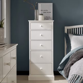 ashby white 5 drawer narrow chest